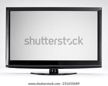 Computer or TV Monitor with Blank Screen Isolated on White Background. Front View with Real Shadow - stock photo