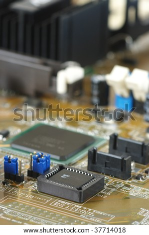 Computer part: circuit board close-up.