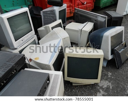 Computer parts and monitors for electronic recycling - stock photo