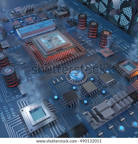Computer parts, fantasy motherboard visualization, 3d rendering