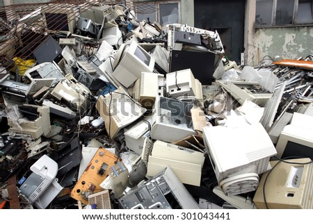 computer parts for electronic recycling - stock photo