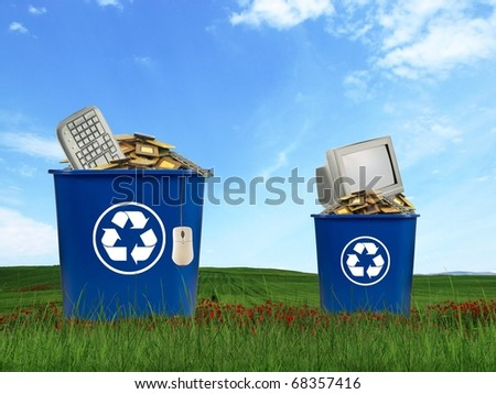 Computer parts trash in recycle bin stock photo