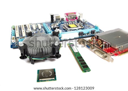 Computer PC parts on white background