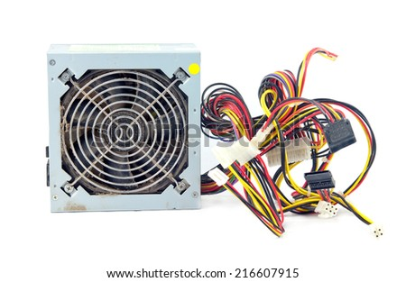 computer power supply Unit Isolated On White Background  - stock photo