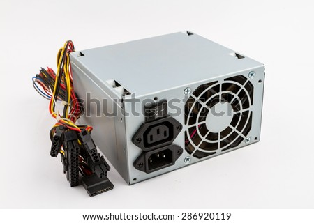 Computer Power Supply Unit On White Background - stock photo