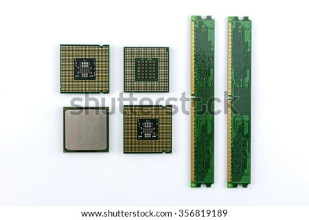 Computer processor and computer memory with white background./Computer processor and computer memory - stock photo