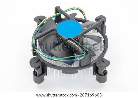 Computer processor cooling fan on a heatsink - stock photo