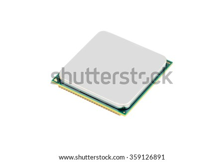 Computer processor (CPU), isolated on white background - stock photo