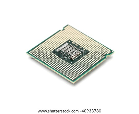 Computer processor isolated on white background, shallow focus - stock photo
