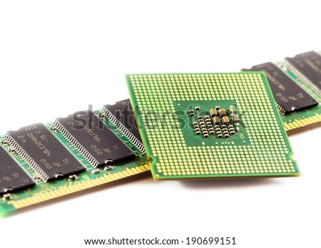 Computer processor isolated over white background. - stock photo