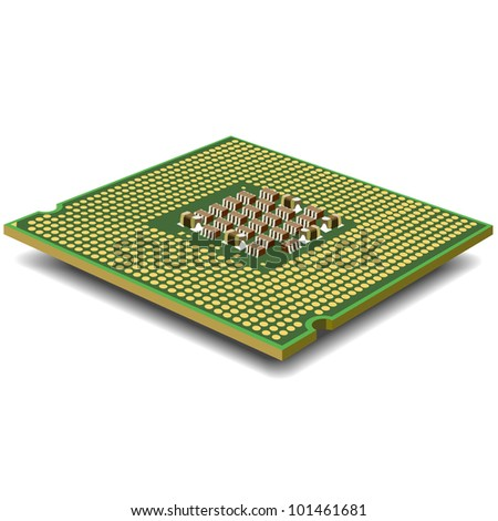 computer  processor on a white background is isolated gold color with a microcircuit.
