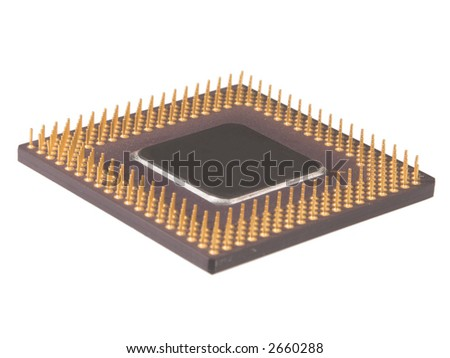 Computer processor or microprocessor laying with its contacts up isolated on white