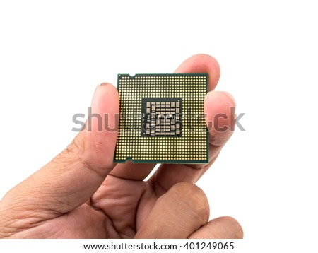 Computer processors CPU in hand on white background. - stock photo