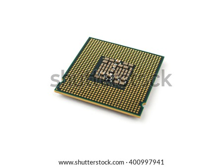 Computer processors CPU on white background. - stock photo