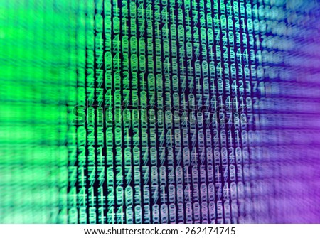 Computer programming coding screen source script of developer software at computing work. Modern digital data bits of technology, abstract background on monitor. Green purple pink, blue violet colors. - stock photo