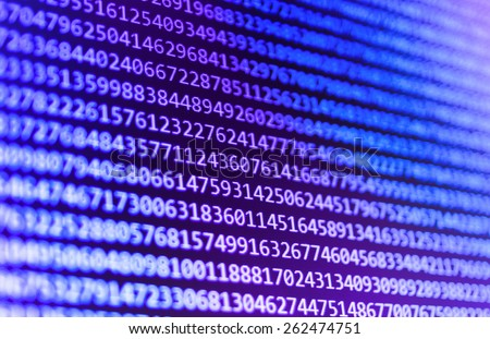 Computer programming coding screen source script of developer software at computing work. Modern digital data bits of technology, abstract background on monitor. Blue purple violet color. - stock photo