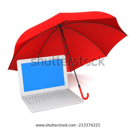 Computer Protection and Red Umbrella. 3D Rendering - stock photo