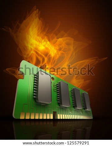 Computer RAM Memory Card in Fire high resolution 3d illustration