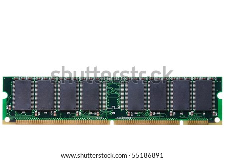 Computer RAM Memory Card isolated in white background - stock photo