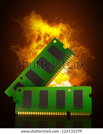 Computer RAM Memory Cards in Fire. High resolution. 3D image - stock photo