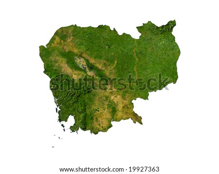 Computer Render Of Cambodia On White Background
