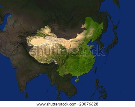 Computer Render Of China Highlighted