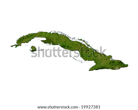 Computer Render Of Cuba On White Background