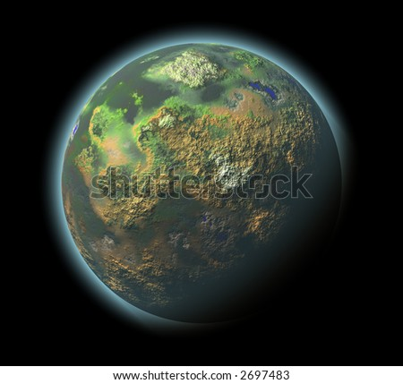 Computer Render of Imaginary Planet with Atmosphere - stock photo