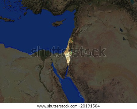 Computer Render Of Israel Highlighted
