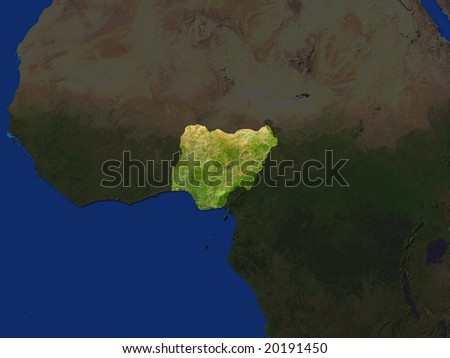 Computer Render Of Nigeria Highlighted