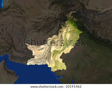 Computer Render Of Pakistan Highlighted