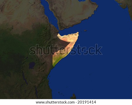 Computer Render Of Somalia Highlighted