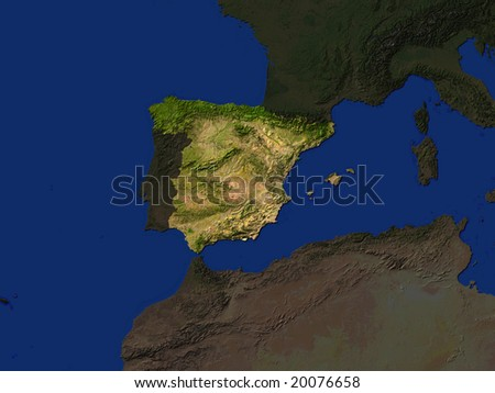 Computer Render Of Spain Highlighted - stock photo