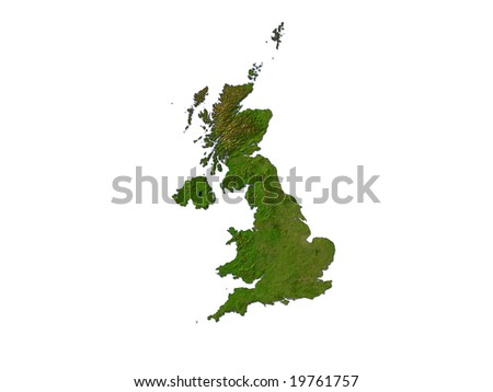 Computer Render Of The UK On White Background