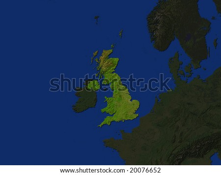 Computer Render Of The United Kingdom Highlighted