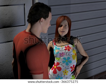 computer rendered digital illustration of a young couple at the front door of a house