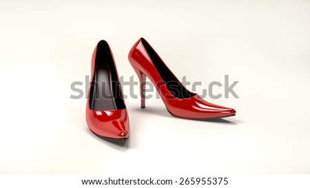 Computer rendered illustration of red high heels
