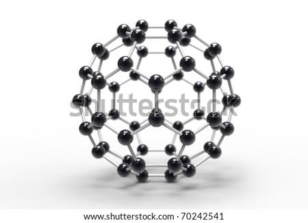 Computer rendering of a C60 fullerene molecule - stock photo