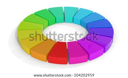 Computer rendering of a 3D color wheel isolated on white - stock photo