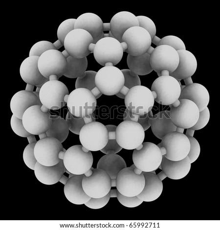 Computer rendering of Buckminsterfullerene, a prototype of carbon-based nanotubes. - stock photo