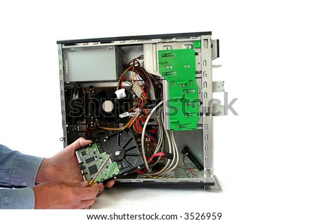 Computer repair and hard drive replacement - stock photo