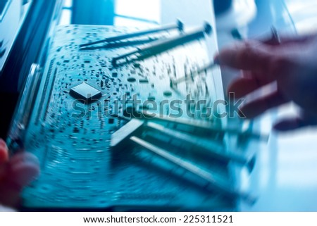 Computer repair, spin blur concept - stock photo