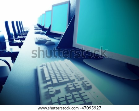 Computer room. - stock photo