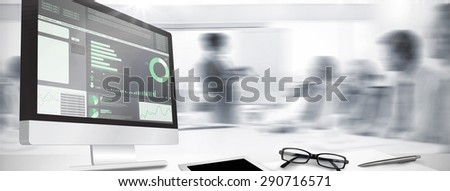 Computer screen against business interface - stock photo