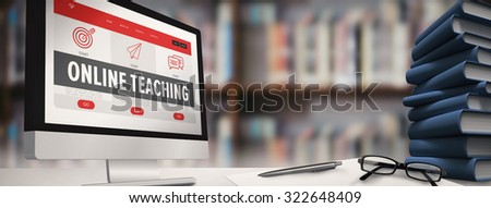 Computer screen against library shelf - stock photo