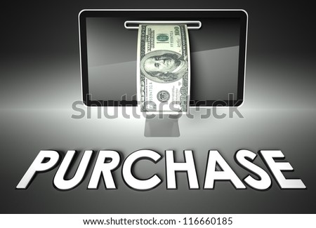 Computer screen and dollar bill with word Purchase, E-commerce concept - stock photo