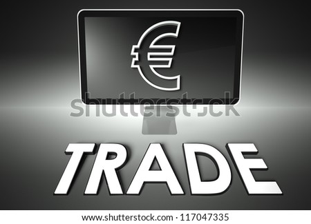 Computer screen and euro sign with word Trade, E-commerce concept - stock photo