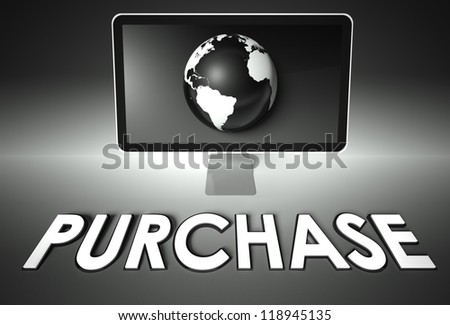 Computer screen and globe with word Purchase, E-commerce concept - stock photo