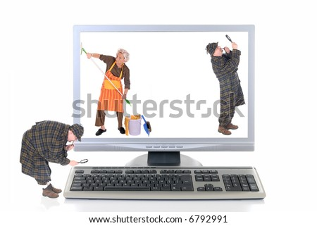 Computer screen and keyboard, detectives inspecting for viruses, woman cleaning up.  White background