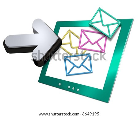 Computer screen displaying an internet email sign with a large 3d arrow pointer. Isolated on a white background - stock photo